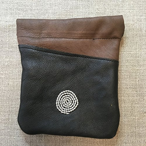 Handmade Saami Reindeer Leather Pewter Coin Purse Spiral Design by Paivatar Yarns US