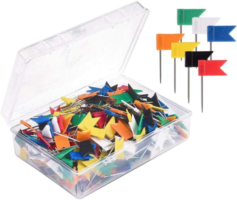 Toyvian Map Flag Push Pins Tacks Tachuelas de acero con banderas de plástico Cabeza para viaje Mapa Cork Board Boletín 100 piezas (color aleatorio)