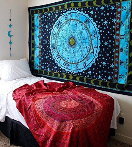 1 X Zodiac Tapestry Wall Hanging Horoscope Tapestry Indian Astrology Hippie Wall Tapestries for Dorms Boho Twin Bedding Zodiac Tapestry. (85