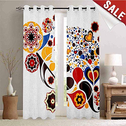 Abstract Kitchen Gromets Curtain and Valances Set Living Room Drapes, Colorful Graphic Design of Floral Motifs Hearts Music Notes Dots Ornamental Art Pattern Darkening Curtains, Multicolor, W96 x L7