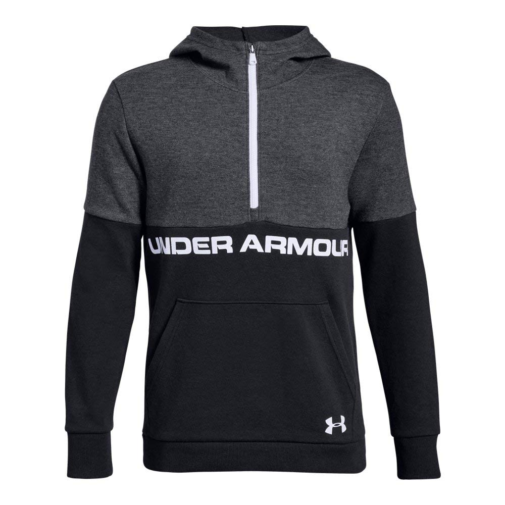 Under Armour Boys Double Knit 1/2 Zip Hoodie, Black (003)/White, Youth X-Small by Under Armour