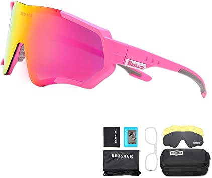 BRZSACR Gafas de Sol Deportivas polarizadas Protección UV400 Gafas de Ciclismo con 3 Lentes Intercambiables para Ciclismo, béisbol, Pesca, esquí, Funcionamiento (Rosa): Amazon.es: Deportes y aire libre