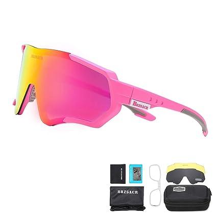 BRZSACR Gafas de Sol Deportivas polarizadas Protección UV400 Gafas de Ciclismo con 3 Lentes Intercambiables para Ciclismo, béisbol, Pesca, esquí, ...