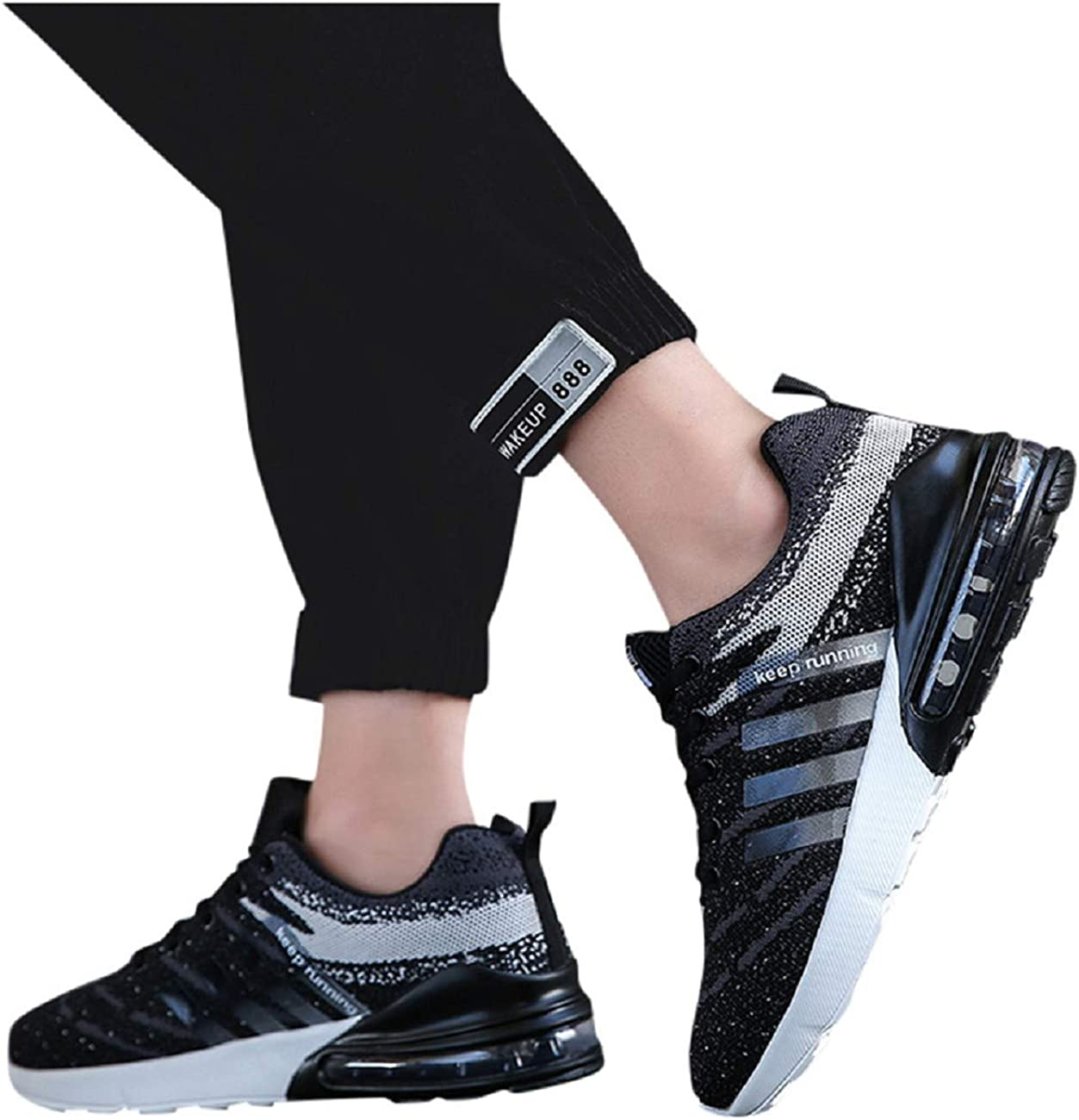 Tsmile Mens Large Size Knitted Mesh Breathable Lace Up Sneakers Fashion Comfortable Running Gym Sports Walking Shoes