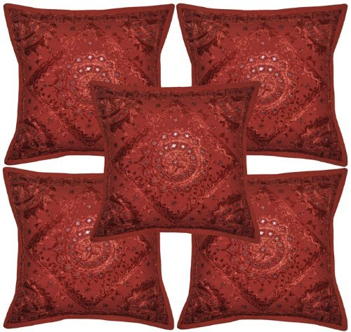 Sophia Art Home Furnishing Decorative Heavy Handmade Embroidered And Mirror Work Indian Cotton Throw Pillow Cushion Covers 16 x 16...  home works mirror | DIY DOLLAR TREE BLING MIRROR WALL ART DECOR  -HOME DECOR DIY WORKS 61BGPNEz3cL