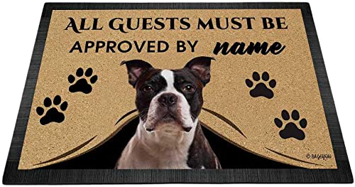 BAGEYOU All Guests Must be Approved Outdoor Doormat with My Love Dog Boston Terrier Welcome Floor Mat Custom Name 35.4 x 23.6