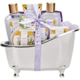 Spa Luxetique Spa Gift Basket Lavender Fragrance, Luxurious 8pc Gift Baskets for Women, Cute Bath Tub Holder - Bath Gift Set Includes Shower Gel, Bubble Bath, Bath Salts & More. Best Holiday Gift Set.