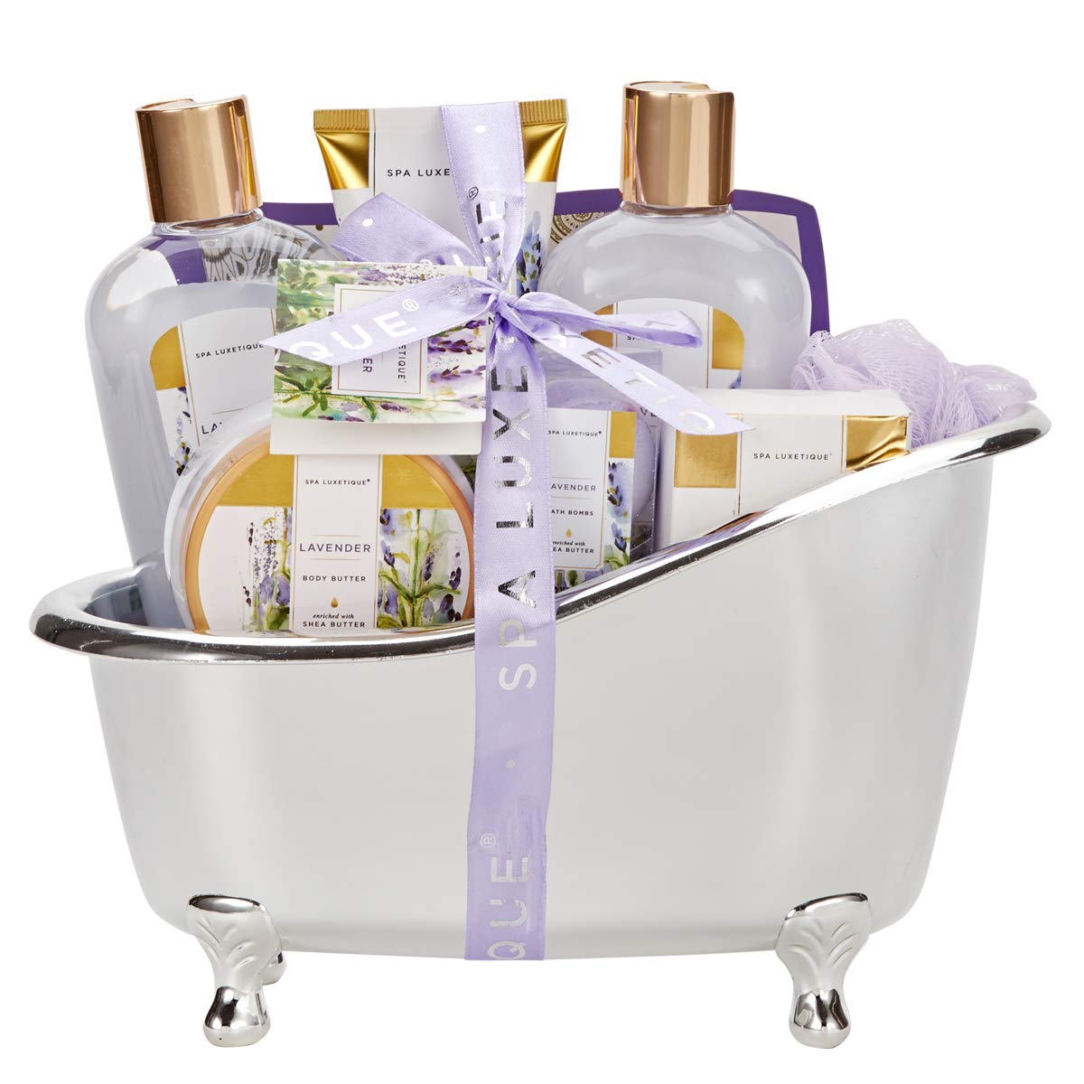 Spa Luxetique Spa Gift Basket Lavender Fragrance, Luxurious 8pc Gift Baskets for Women, Cute Bath Tub Holder - Best Holiday Gift Set for Women Includes Shower Gel, Bubble Bath, Body Butter & More. by spa luxetique