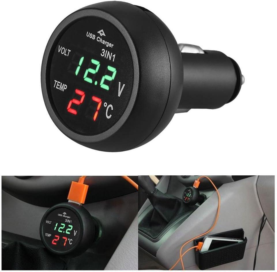 Chargeur USB bleu Thermom/ètre Prosperveil 3/en 1/12//24/V Voiture Auto LED Jauge de Voltm/ètre num/érique