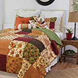 2 Piece Multi Color Rustic Twin Size Quilt, Red Brown Damask Floral Pattern, Green Yellow French Country Shabby Chic Autumn Lodge Cabin, Vintag Cottage, Cotton, Polyester