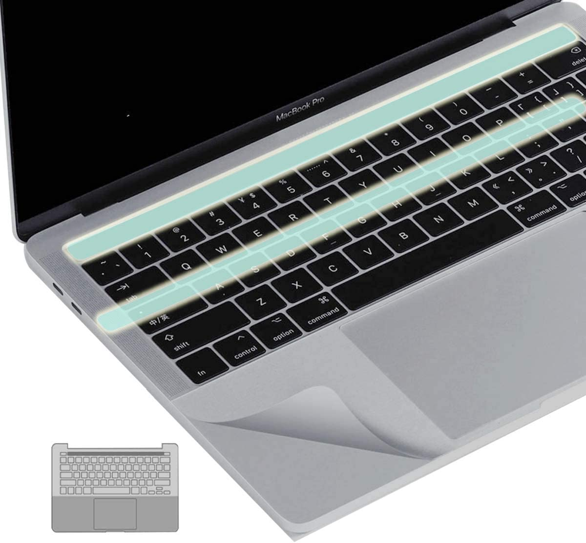 KEANBOLL 3-in-1 Palm Rest Protector Trackpad Cover Touch Bar Skin for MacBook Pro 15 Inch 2020-2016 Model A1707 A1990 with Touch bar-Silver