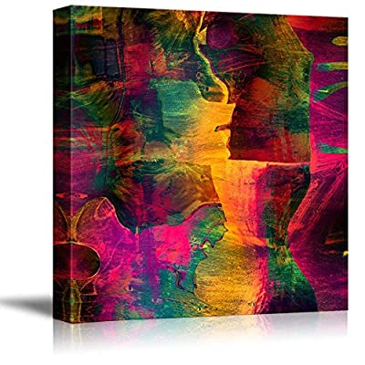Canvas Prints Wall Art - Abstract Vibrant Grungy Color Vintage/Retro Style | Modern Wall Decor/Home Decoration Stretched Gallery Canvas Wrap Giclee Print & Ready to Hang - 16