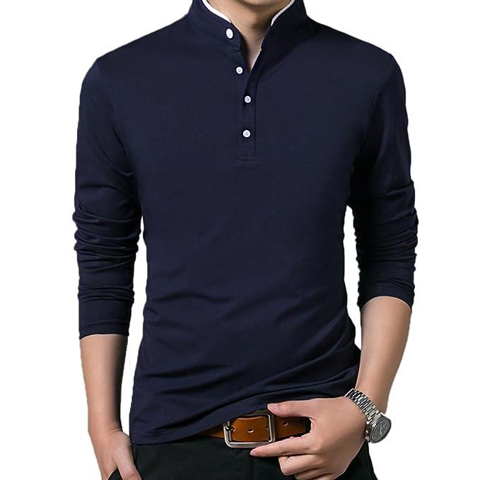 Mocotono Polo Manga Larga con Cuello Mao Golf Camiseta para Hombre  Amazon. es  Ropa y accesorios 0e34c258e3da3