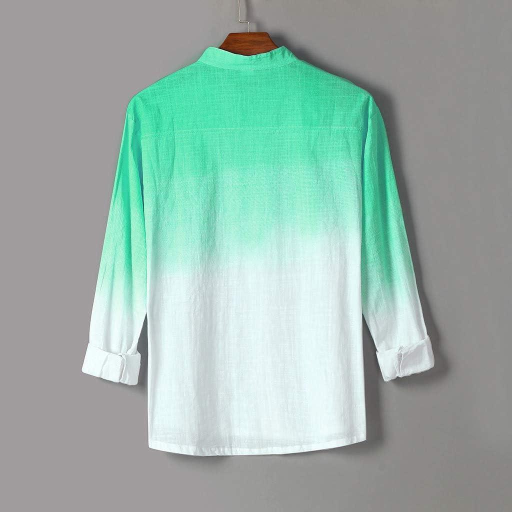 MONDHAUS - Camisas de algodón y Lino para Hombre, Estilo Retro con Cuello en V, Lino, Verde, XX-Large: Amazon.es: Hogar