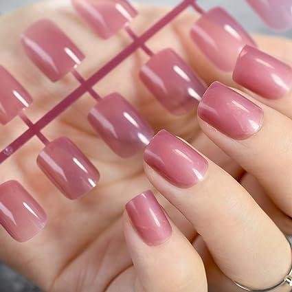 EchiQ Candy - Puntas de uñas postizas translúcidas, taro, morado, falso decoración de