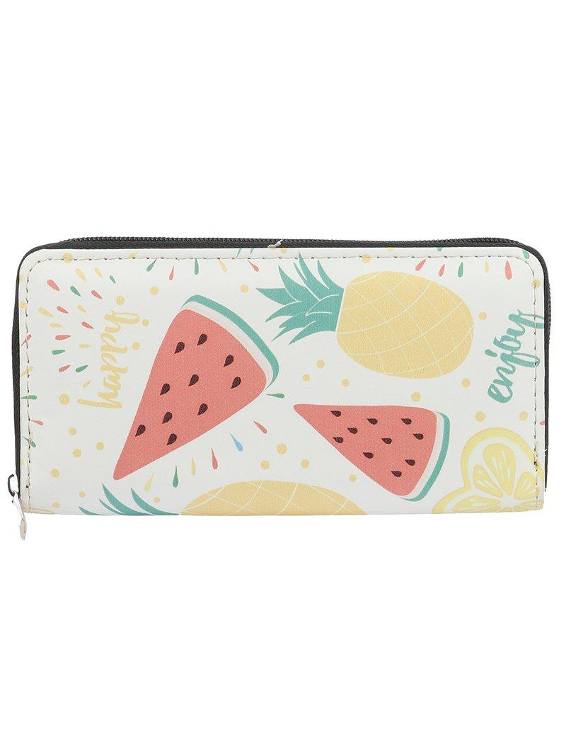 Watermelon Pineapple Fruit Print Vinyl Clutch Wallet Bag (326248 Multi Color)