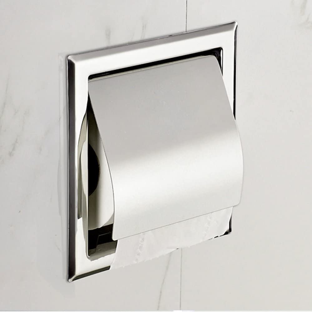 Luant Recessed Paper Holder For Bathroom Storage Stainless Steel Polished Chrome Home Kitchen