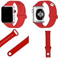 Correa Deportiva para Apple Watch, Correa de Silicona Suave de Repuesto para Apple Watch Sport, Series 3, Series 2, Series 1, 42 mm y 38 mm