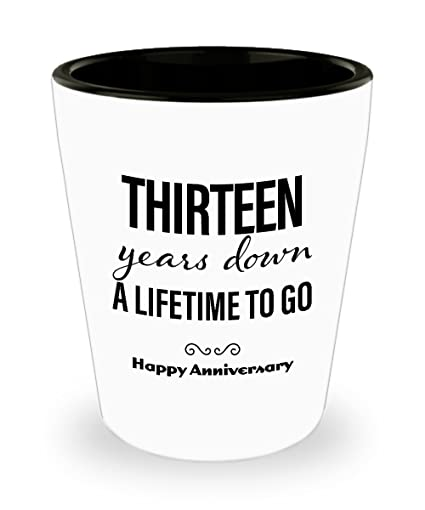 Amazon.com | 13th Anniversary Gifts for Him Shot Glass - Wedding Anniversary Gifts for Him 13 Years Down Unique Cute for Boyfriend Husband Men Friend ...