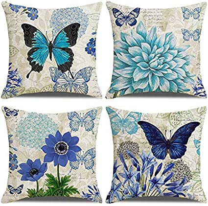 Laxeuyo Pack Of 4 Cushion Covers 18x18 Blue Flower Butterfly Pattern Cotton Linen Decorative Throw Pillow Covers Pillow Cases For Sofa Amazon Co Uk Kitchen Home