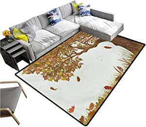 Tree of Life Bedroom Carpet Autumn Season Fall Shady Deciduous Oak Leaves in Park Countryside Artwork Rugs for Dorm Home Kids Umber Redwood (4'x6')