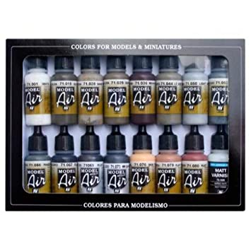 Vallejo Model Air Weathering Acrylic Paint Set for Air Brush - Assorted  Colours (Pack of 16)