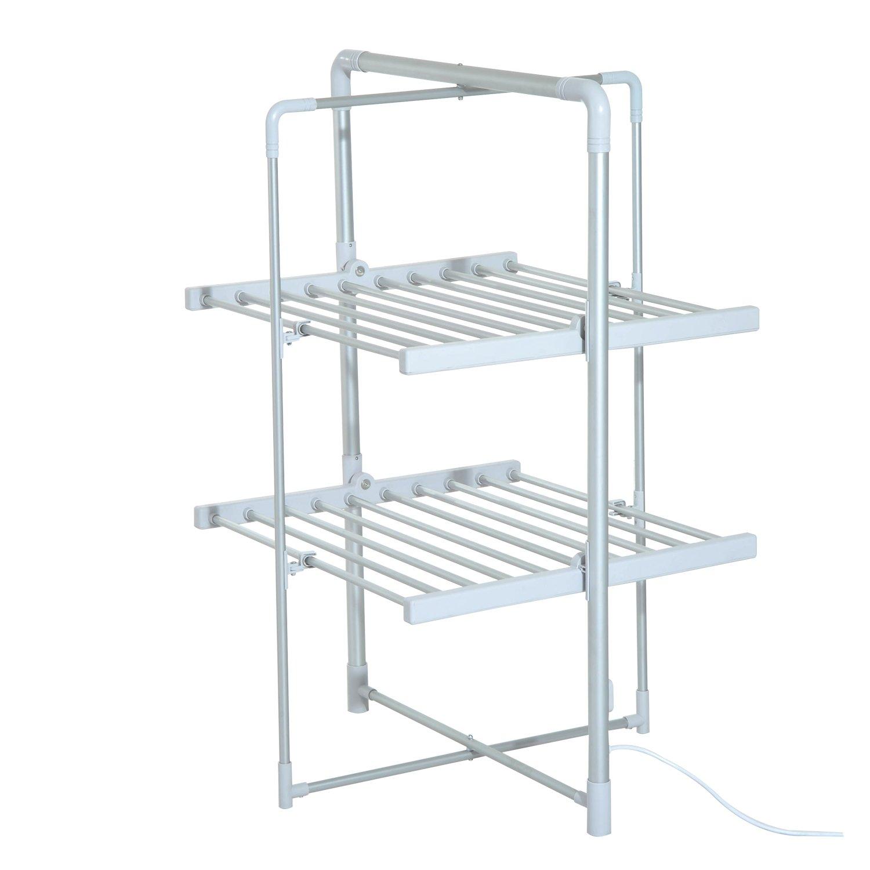 Séchoir à linge étendoir à linge électrique chauffant pliable 2 niveaux 200 W 50-55? aluminium neuf 48 Homcom