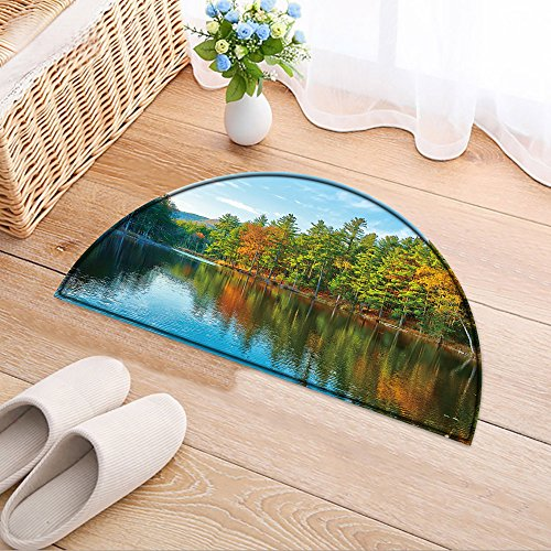 NALAHOMEQQ Cute Semicircle Pattern Bathroom Pond in White Mountain National Forest, New Hampshire, USA Area Rug(35.4x23.6 INCH) (Rugs New Hampshire)