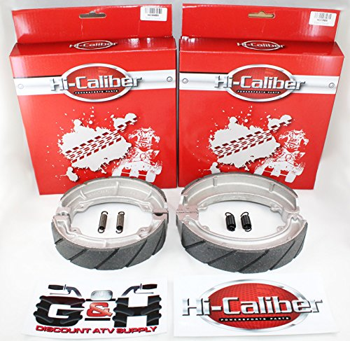 WATER GROOVED Front & Rear Brake Shoes & Springs SET for the Honda ATC 250 ES SX Big Red ()