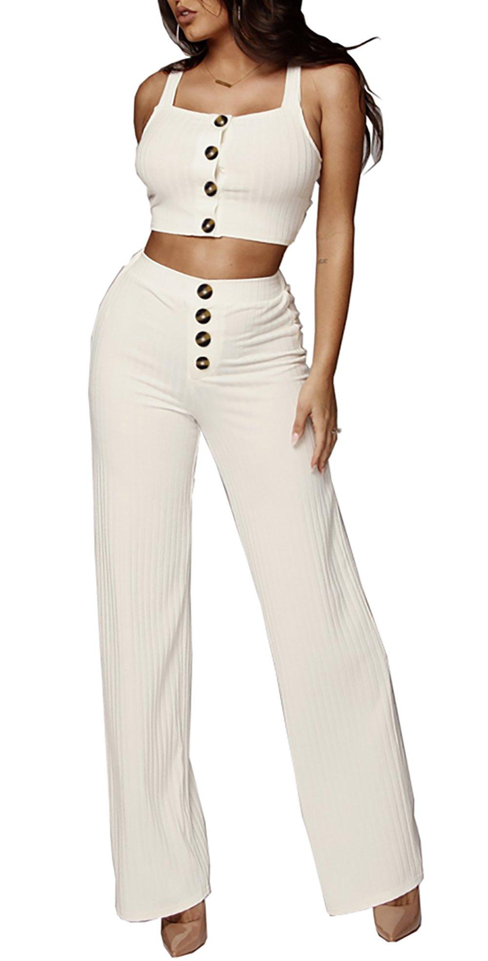 Molisry Women's Retro 2 Pieces Outfits Spaghetti Strap Crop Tops & Wide Leg Long Pants Rompers