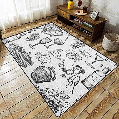 (Rectangular Rug,Wine,Hand Drawn Wine Set in Sketch Style Vintage Gourmet Country Themed Artwork,Rustic Home Decor,5'10