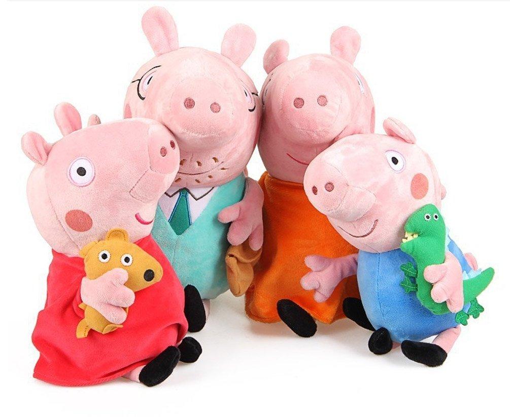 Peppa Pig Plüschfiguren-Set Peppa Wutz, alle 4Familienmitglieder, Höhe Mama und Papa Wutz 28cm, Höhe Schorsch und Peppa 17cm, super-weich und kuschelig, mit computergesteuerter Stickerei im Gesicht für eine Optik wie in der Sendung TY Toys Family Of 4