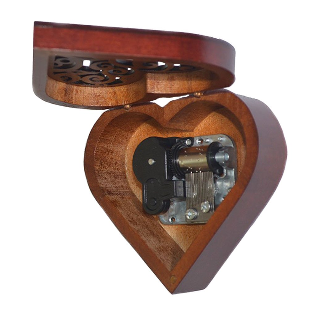 Antique Engraved Wooden Wind-Up Musical Box,You Are My Sunshine Musical Box,with Silver-plating Movement in,Heart-shaped by FnLy (Image #3)