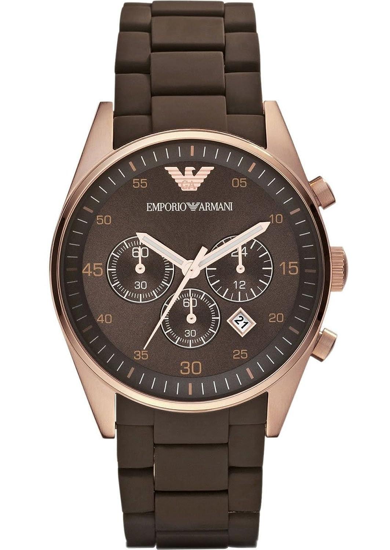 Emporio Armani AR5890 Herren Silikon Edelstahl Rose Gold Sport Quarz Chronograph