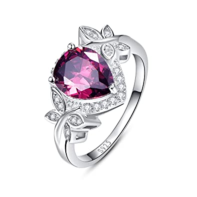 Sweetiee 990 Sterling Silver Finger Ring with Garnet and Flower Size O (Adjustable) for Woman 7tHUMCSQK