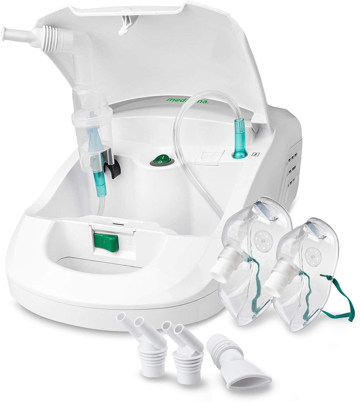 Medisana IN 550 Inhalador nebulizador compresor con boquilla y mascarilla para adultos y niños, para resfriados o asma con accesorios adicionales, tubo largo y compartimento para accesorios