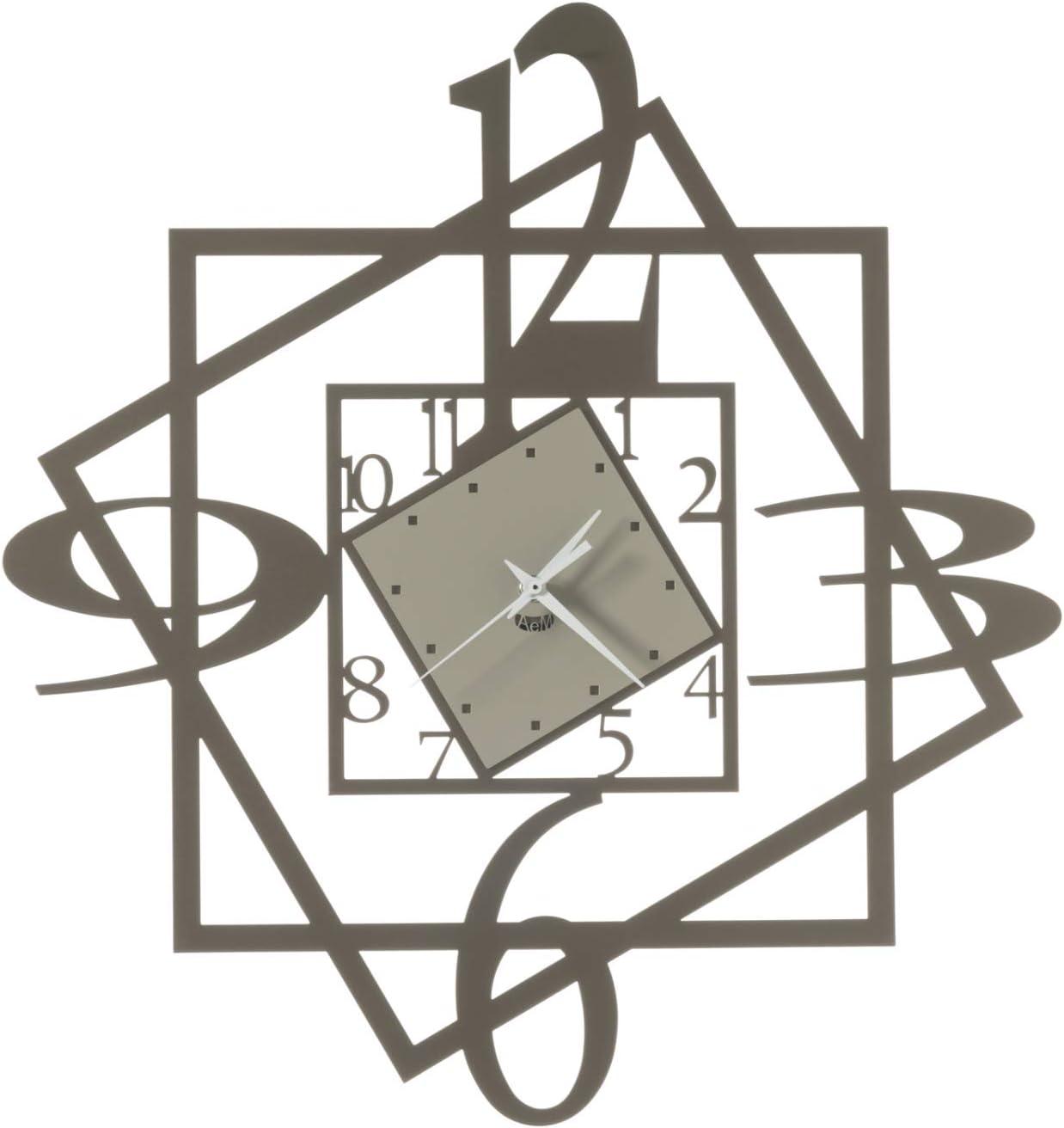 Arti & Mestieri Forum – Reloj de pared de diseño 100% fabricado en Italia – de hierro, 47 x 50 cm – Arena y bronce