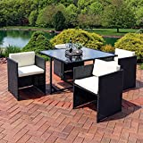 Sunnydaze Miliani 5-Piece Outdoor Dining Patio Furniture Set with Black Wicker Rattan and Beige Cushions