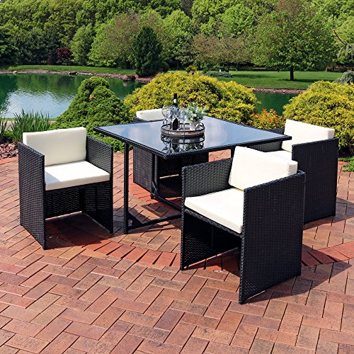 'Sunnydaze Miliani 5-Piece Outdoor Dining Patio Furniture Set with Black Wicker Rattan and Beige Cushions' from the web at 'https://images-na.ssl-images-amazon.com/images/I/61BGWHz%2BN6L.jpg'