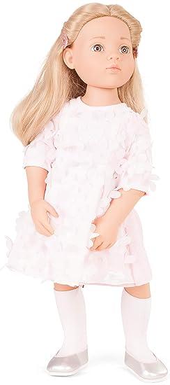 Götz 1766045 Happy Kidz Emma geht zur Sommerparty Puppe - 50 cm große Multigelenk-Stehpuppe, Blonde Haare, steingraue Augen -