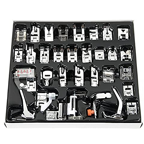 Professional Domestic 32 pcs Sewing Machine Presser Feet Set for Babylock, Singer, Janome, Brother, Elna, Toyota, New Home, Simplicity, Necchi, Kenmore, and White Low Shank Sewing - Magnetic Circle Cutter