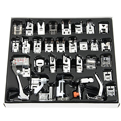 Professional Domestic 32 pcs Sewing Machine Presser Feet Set for Babylock, Singer, Janome, Brother, Elna, Toyota, New Home, Simplicity, Necchi, Kenmore, and White Low Shank Sewing Machines