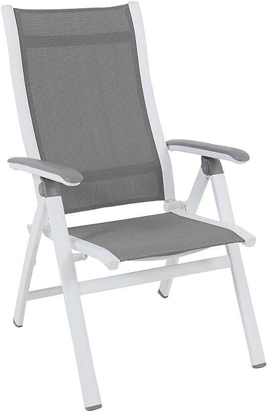 Silla plegable jardín MWH Evo Jardín Sillón plegable aluminio/textilene blanco/plata Respaldo Ajustable silla de jardín silla de terraza balcón silla: Amazon.es: Jardín