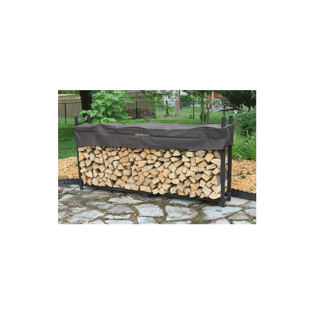 QBC Bundled Woodhaven Firewood Rack - 120-WRC - 10ft Firewood Rack - Black - (4ft x 10ft x 14in) with Standard Cover - Plus Free QBC Firewood Rack eGuide