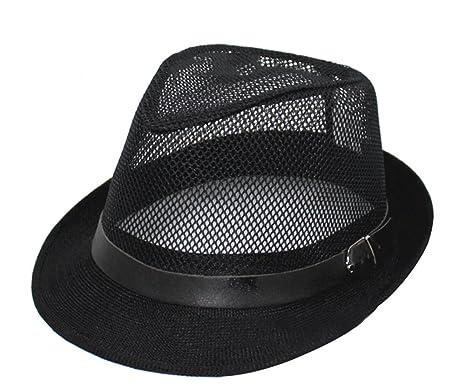 11979df520368 Leisial Unisex Straw Jazz Hat Summer Beach Sun Visor Cap Mesh Hollow  Breathable(Black)