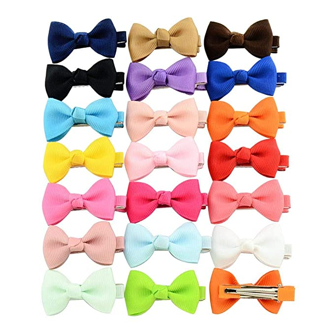Kids Small Bowknot Hairgrips Mini Sweet Solid Ribbow Bow Safety Hair Clips
