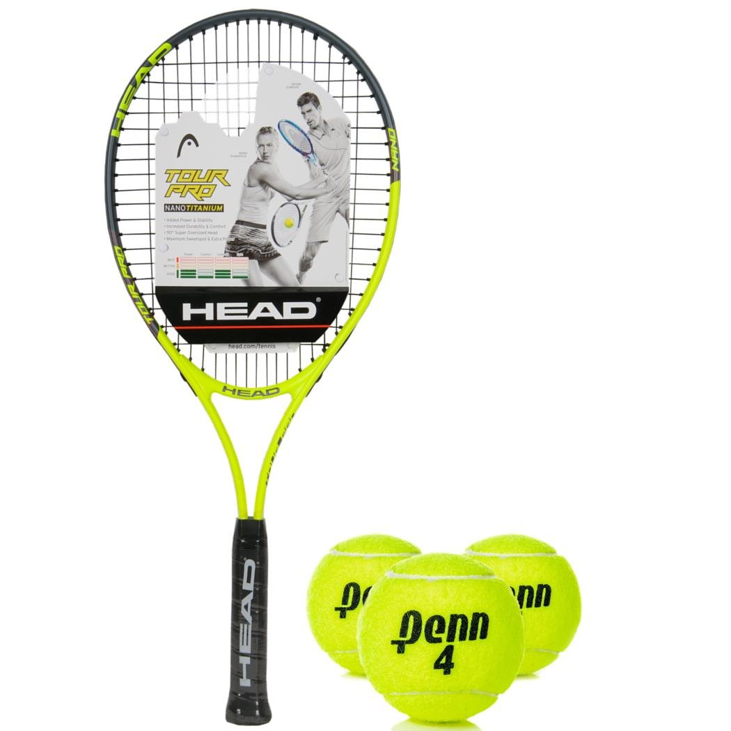 Amazon.com : HEAD Tour Pro Oversized 18x19 NanoTitanium Black/Yellow Tennis Racquet (4 1/2 Grip) Kit or Set Bundled with (1) Can of 3 Penn Tennis Balls ...