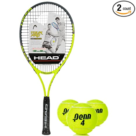 HEAD Tour Pro Oversized 18x19 NanoTitanium Black/Yellow Tennis Racquet (4 1/2