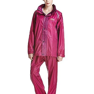 Icegrey Unisexe Imperméable de Poncho Avec Transparentes Capot Prolongé Rose Rouge / Violet XXL