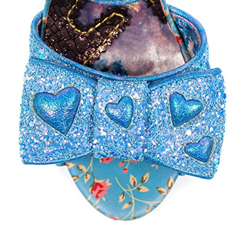 Irregular Choice Hot Rock With Love Blue Glitter Heart Heel YixgeTs